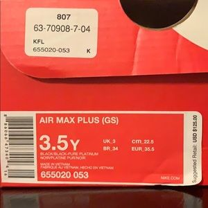 Nike Shoes - (SOLD) Nike Air Max Plus (GS) Size 3.5 NEW in Box